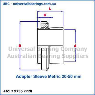 Adapter Sleeve Metric 20-50 mm Diagram