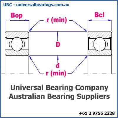 deep groove ball bearing single row diagram 22-35 mm