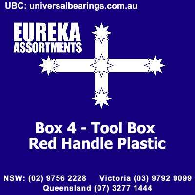 Box - 4 Tool Box Red Handle Plastic Eureka Assortments
