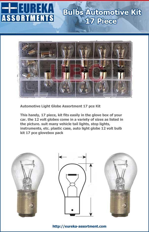 Bulbs Automotive Kit 17 piece eurecka assortments