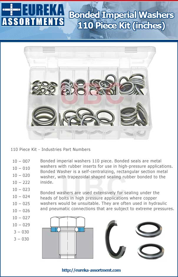 Bonded imperial washers 110 piece eureka assortment