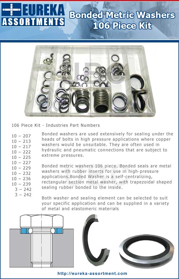 Bonded metric washers 106 piece eureka assortment