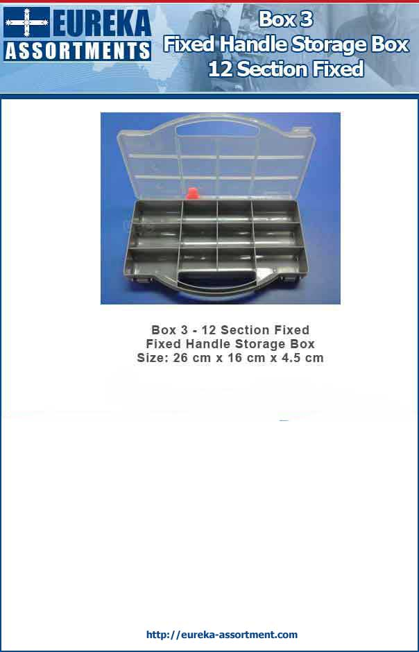 Box 3 - 12 Section Fixed Handle Storage Box Size: 26 cm x 16 cm x 4.5 cm
