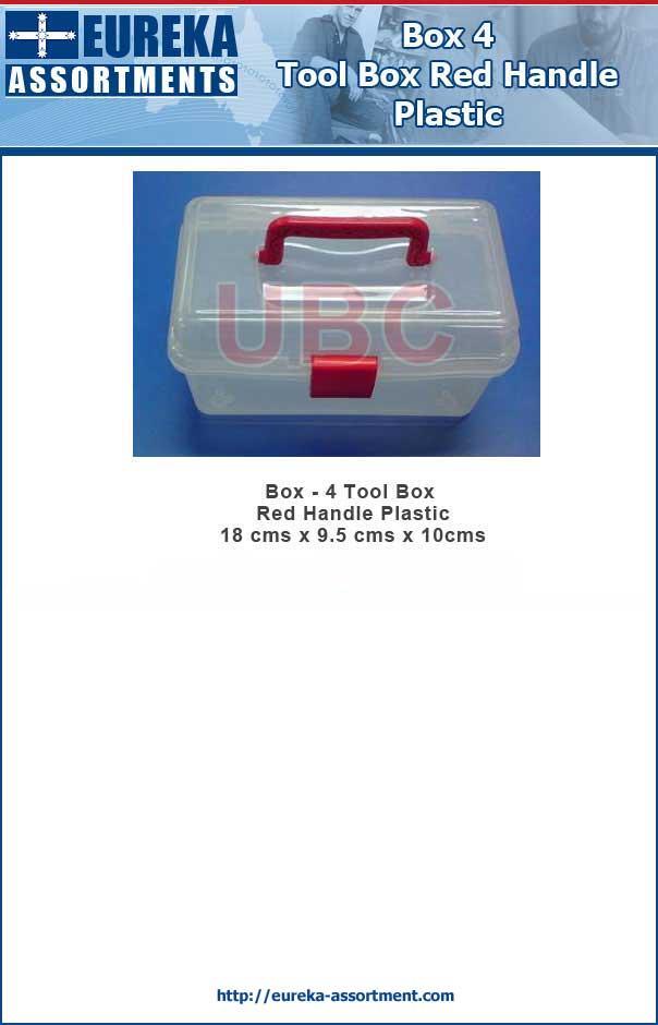 Box - 4 Tool Box Red Handle Plastic 18 cms x 9.5 cms x 10cms