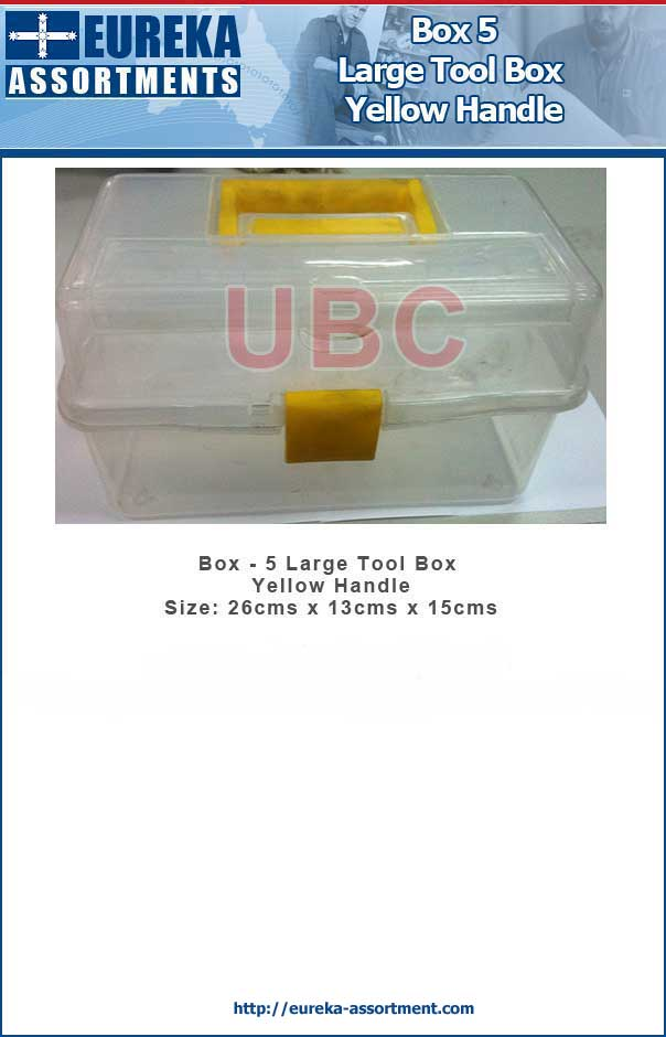 Box 5 Large Plastic Tool Box Yellow Handle