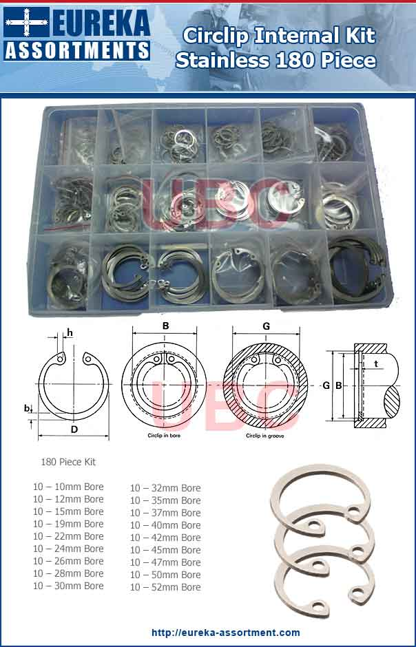 stainless internal circlip kit 180 piece eureka assortments