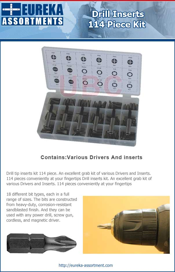 drill inserts kit tips 114 piece eureka assortments