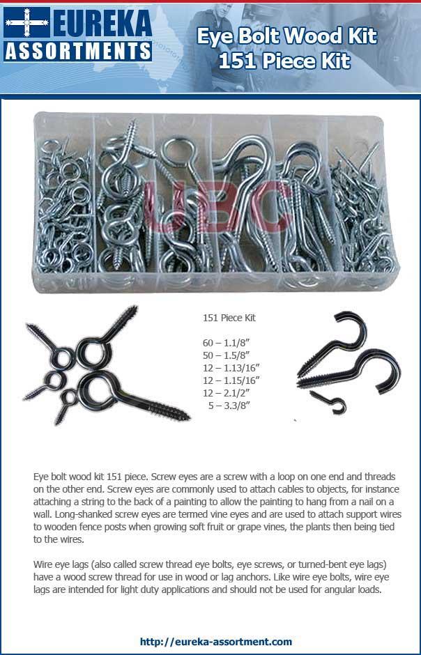 Eye bolt wood kit 151 piece eureka assortments