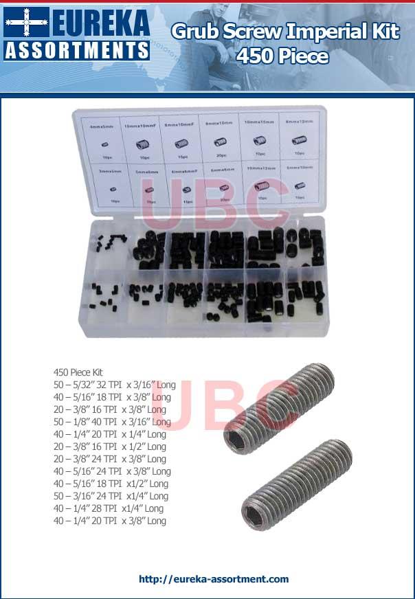 grub screw imperial 450 piece spare parts kit eureka assortments