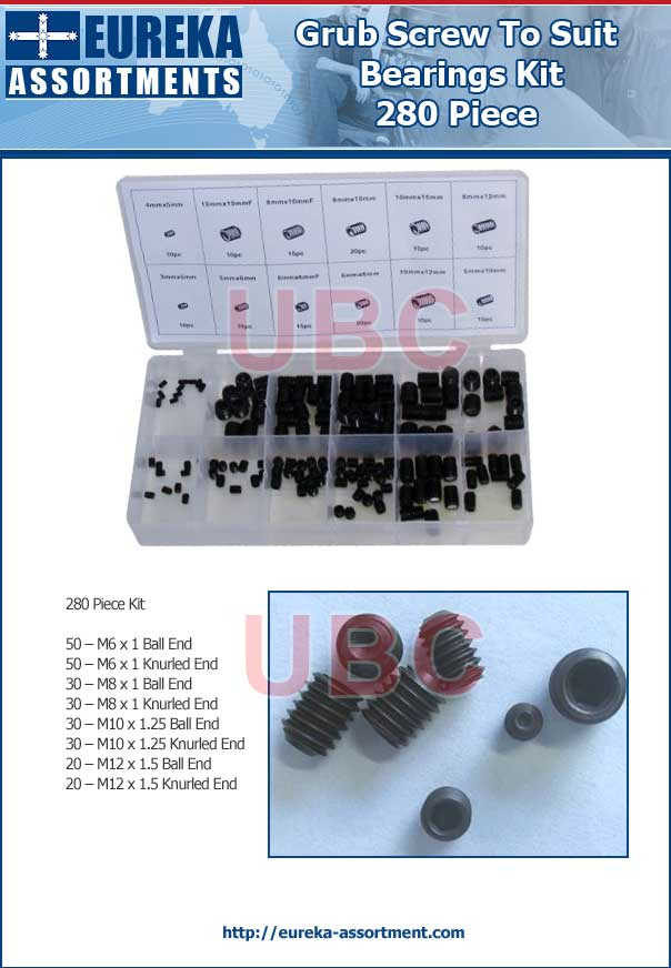 grub screw to suit bearings 280 piece eureka assortments