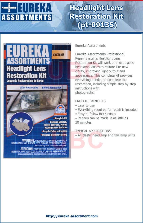 headlight lens restoration kit pt-09135 eureka assortments