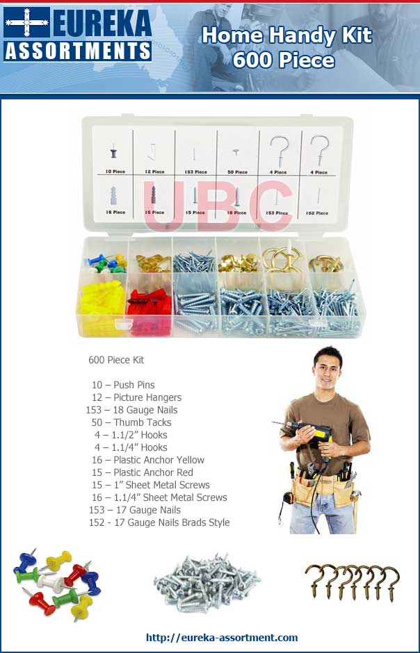 home handy kit 600 piece eureka assortments