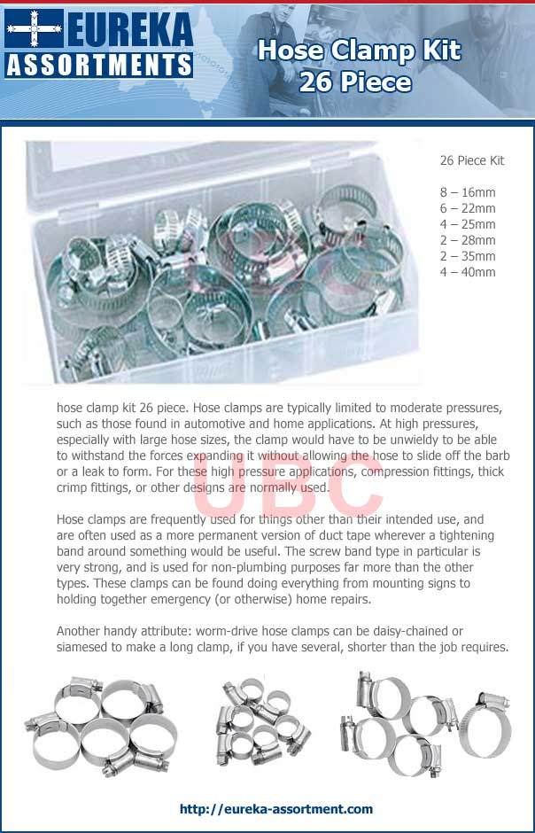 hose clamp kit 26 piece eureka assortments