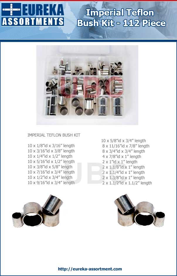 imperial teflon bush kit 112 piece eureka assortments