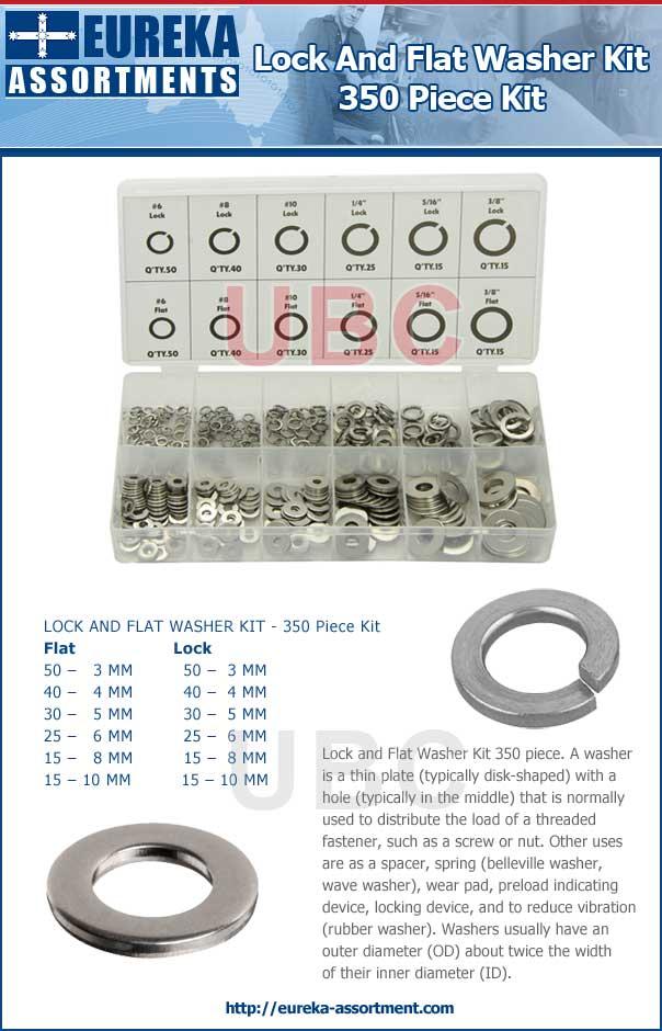 Lock and Flat Washer Kit grab kit 350 piece eureka assortments