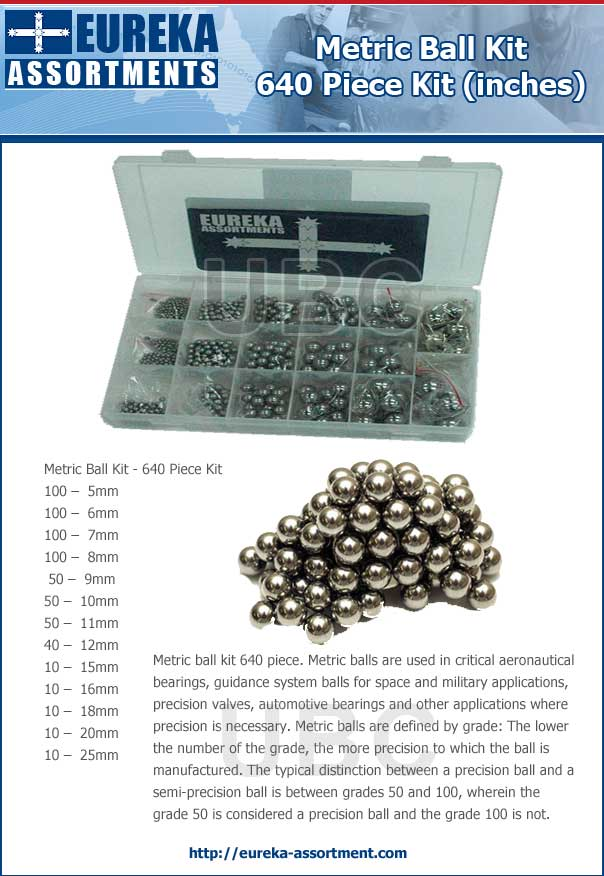 metric ball kit 640 piece eureka assortments