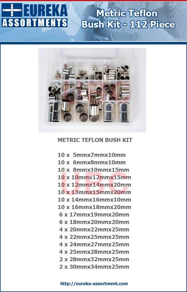 metric teflon bush kit 112 piece eureka assortments