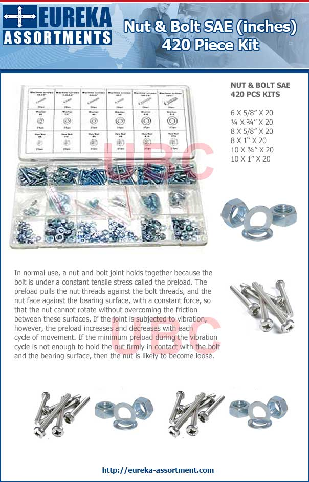 nut and bolt SAE kit 420 piece eureka assortments