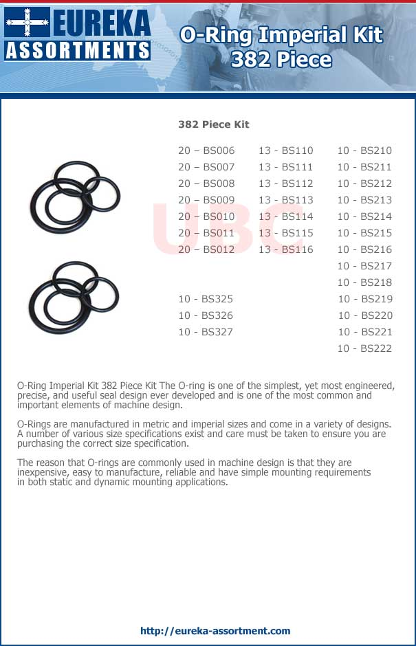 O Ring Imperial Inches Kit 382 piece parts list