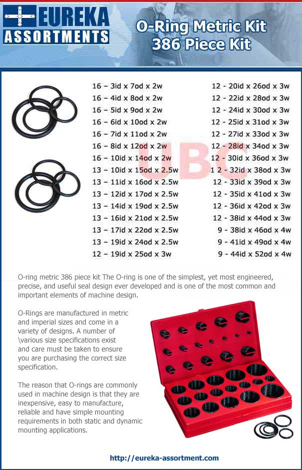 o ring metricl kit 386 piece kit parts list