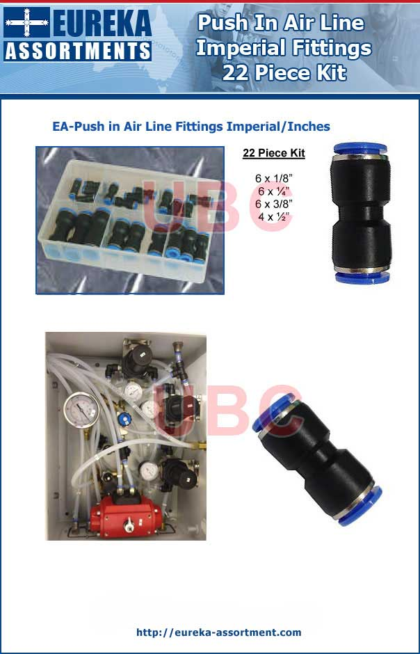 Push in air line Imperial fittings 22 Piece Kit