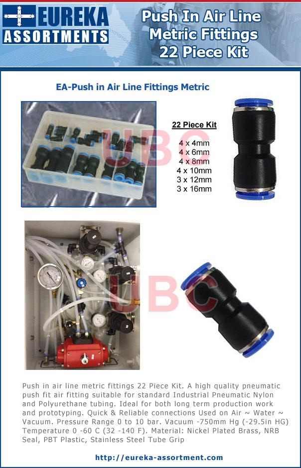 Push in air line fittings 22 Piece Kit metric