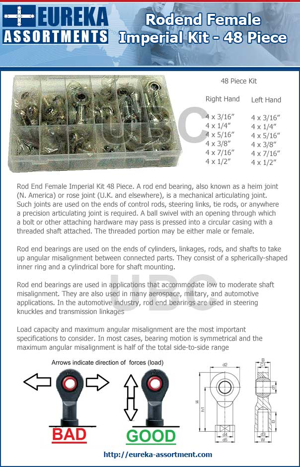Rod End Female Imperial Kit 48 Piece