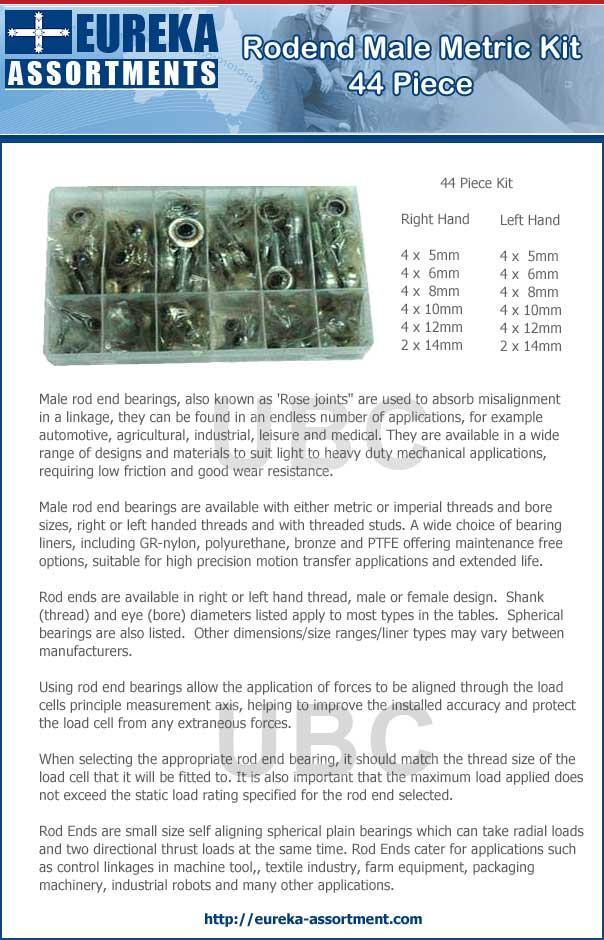 rod end male metric kit 44 piece eureka assortments