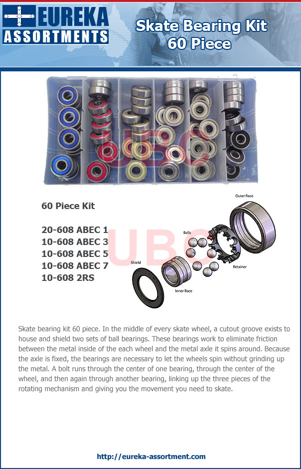 skate bearing kit 60 piece eureka assortments