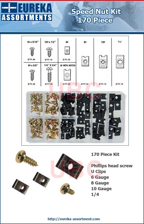 speed nut kit 170 piece eureka assortments