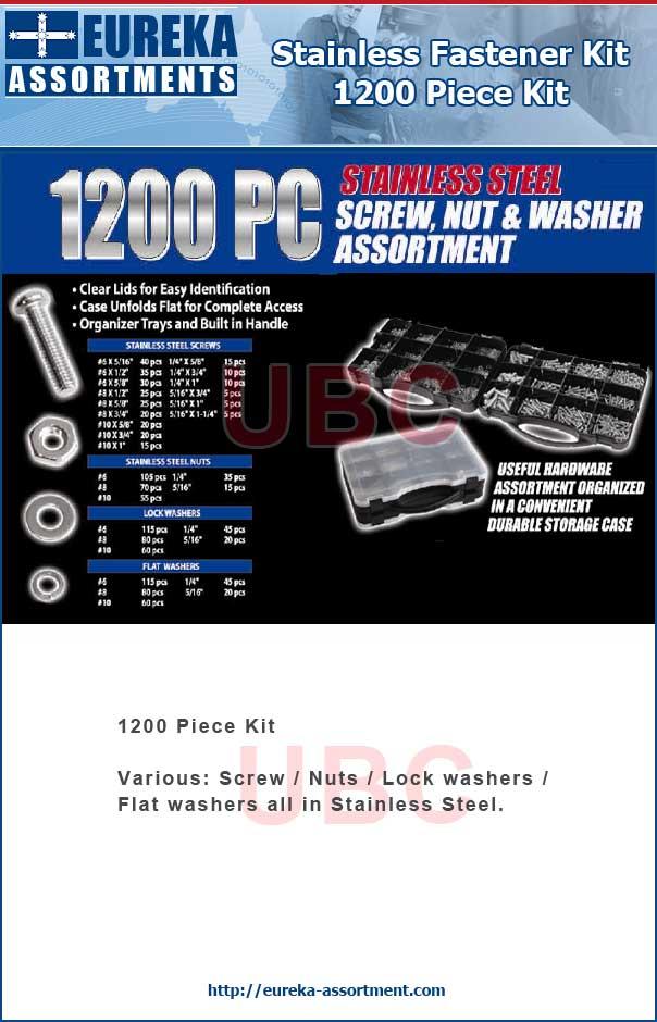 stainless fastener kit 1200 piece