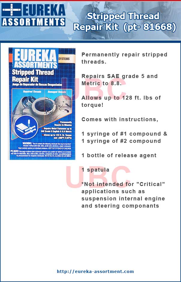 thread repair kit pt- 81668 eureka assortments